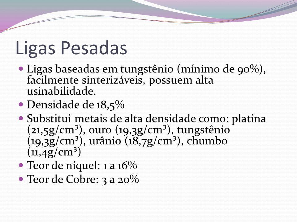Ligas PesadasLigas baseadas em tungstênio (mínimo de 90%), facilmente sinterizáveis, possuem alta usinabilidade.