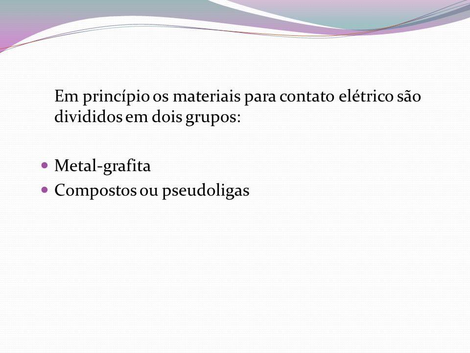 Em princípio os materiais para contato elétrico são divididos em dois grupos: