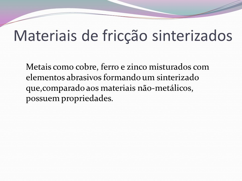 Materiais de fricção sinterizados