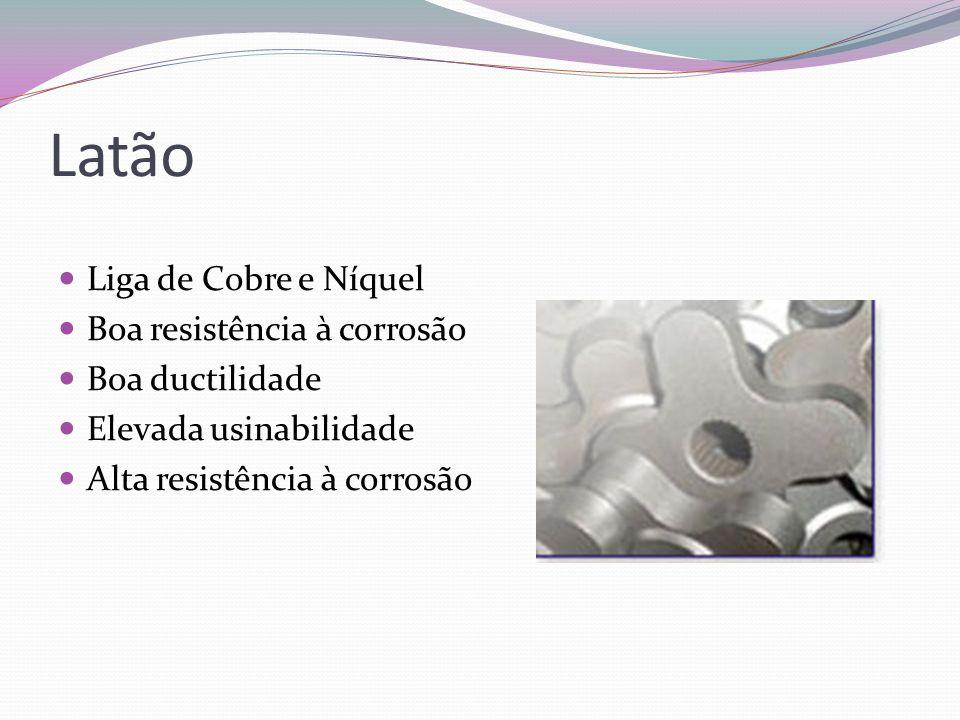 Latão Liga de Cobre e Níquel Boa resistência à corrosão