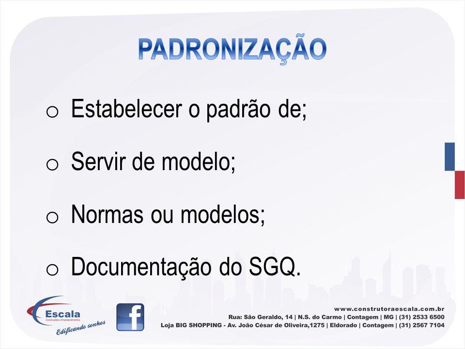 PADRONIZAÇÃO Estabelecer o padrão de; Servir de modelo;