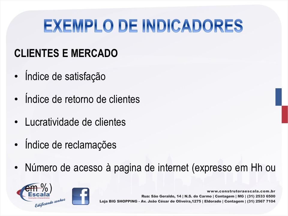 EXEMPLO DE INDICADORES