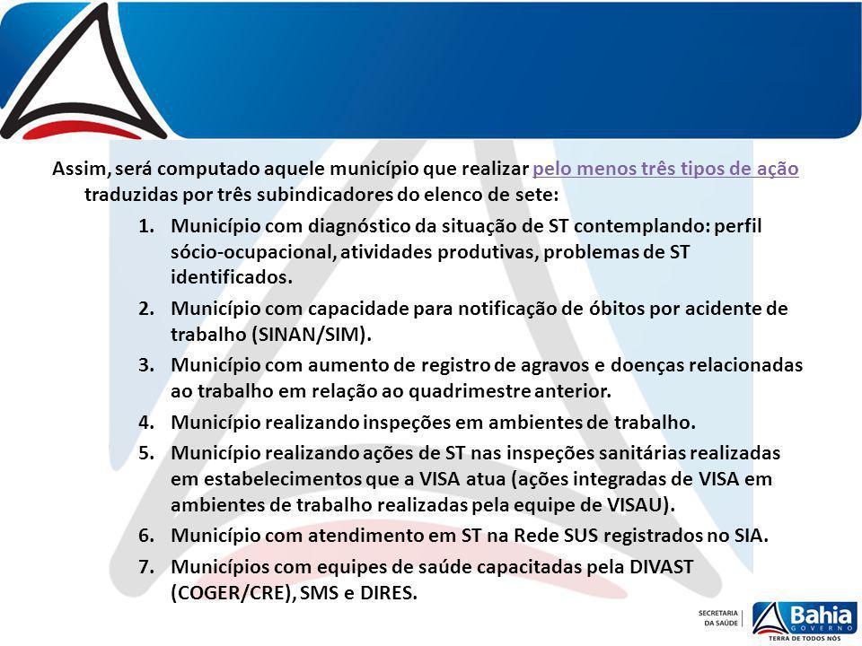 Assim, será computado aquele município que realizar pelo menos três tipos de ação traduzidas por três subindicadores do elenco de sete: