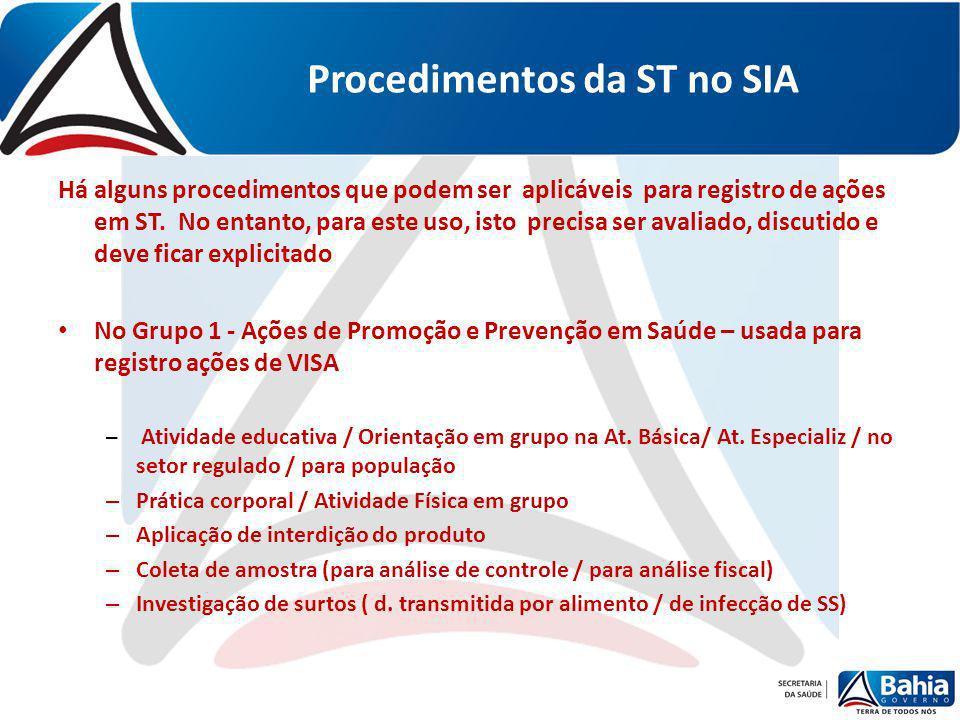 Procedimentos da ST no SIA