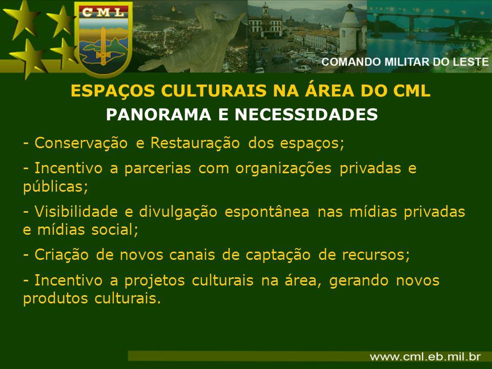 ESPAÇOS CULTURAIS NA ÁREA DO CML PANORAMA E NECESSIDADES