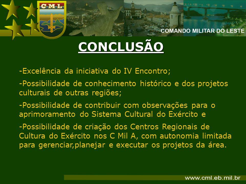 CONCLUSÃO Excelência da iniciativa do IV Encontro;