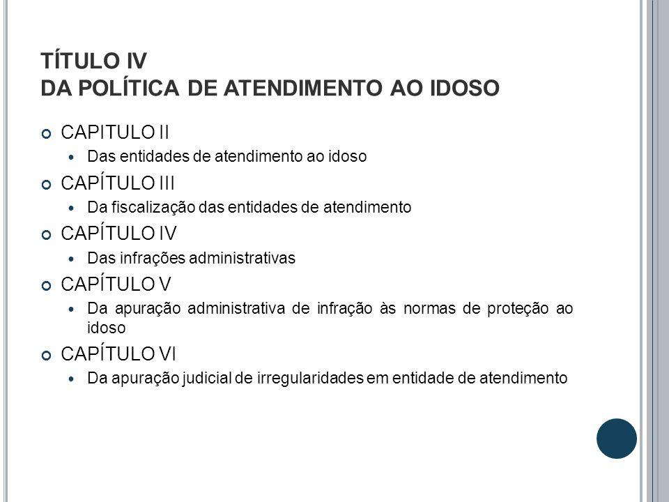 TÍTULO IV DA POLÍTICA DE ATENDIMENTO AO IDOSO