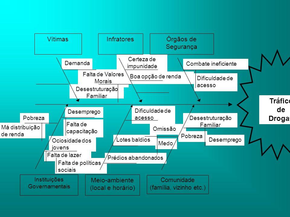Tráfico de Drogas Meio-ambiente (local e horário) Vítimas Infratores