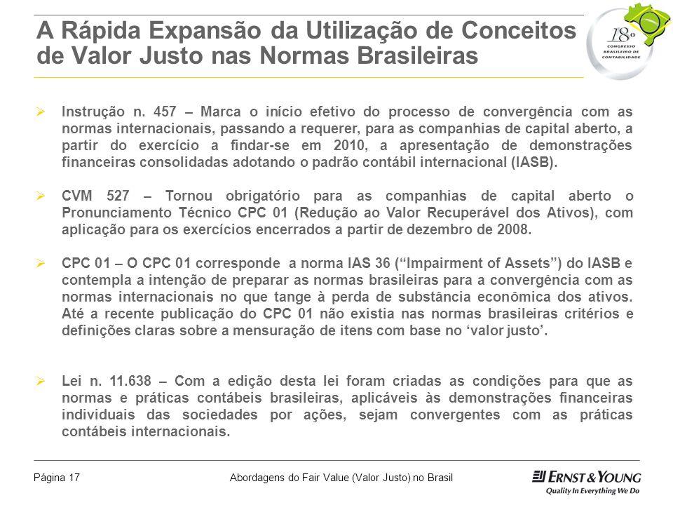A Rápida Expansão da Utilização de Conceitos de Valor Justo nas Normas Brasileiras