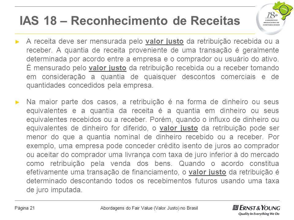 IAS 18 – Reconhecimento de Receitas