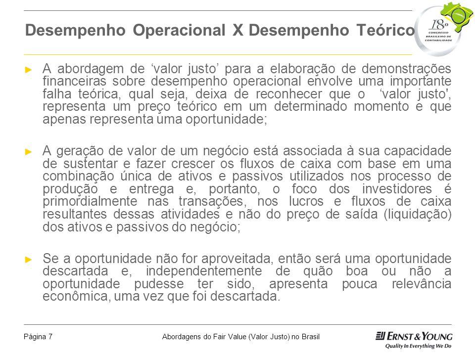 Desempenho Operacional X Desempenho Teórico