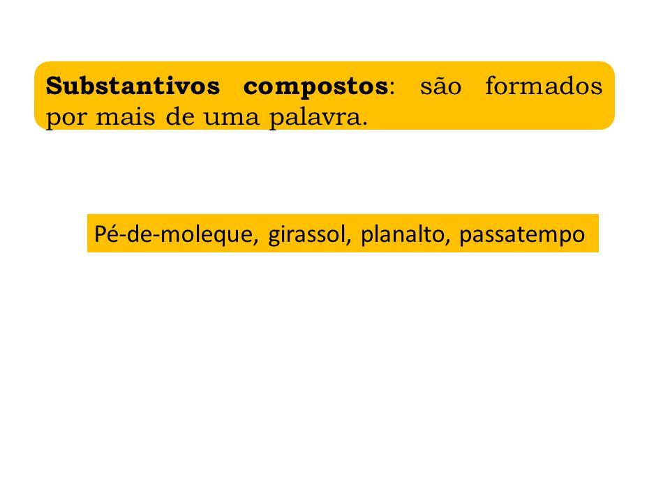 Substantivos compostos: são formados por mais de uma palavra.