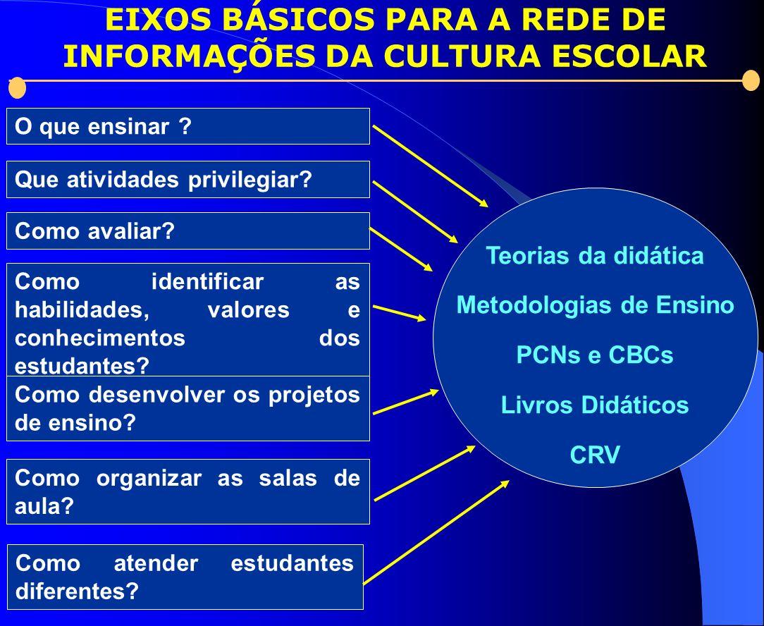 EIXOS BÁSICOS PARA A REDE DE INFORMAÇÕES DA CULTURA ESCOLAR