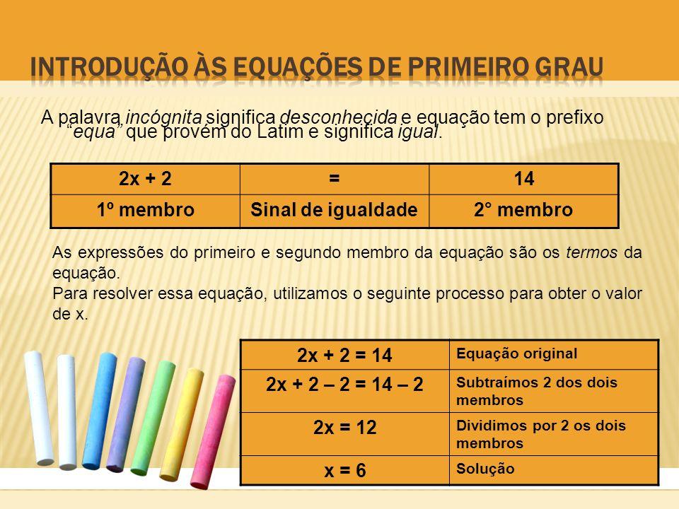 Introdução às equações de primeiro grau