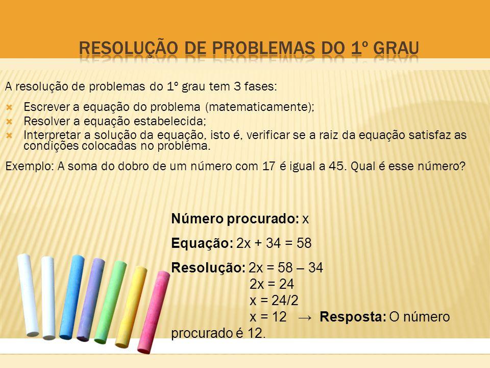 Resolução de problemas do 1º grau