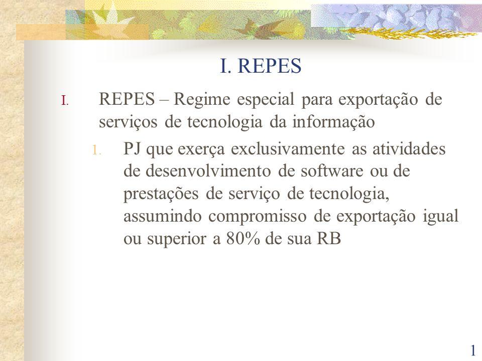 I. REPESREPES – Regime especial para exportação de serviços de tecnologia da informação.