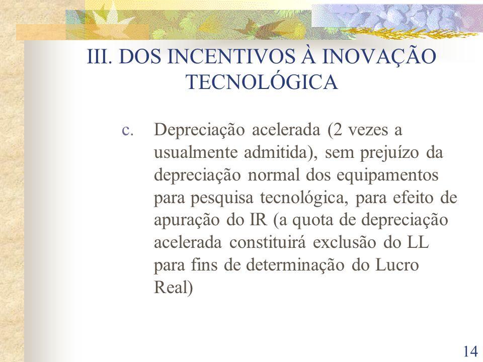 III. DOS INCENTIVOS À INOVAÇÃO TECNOLÓGICA