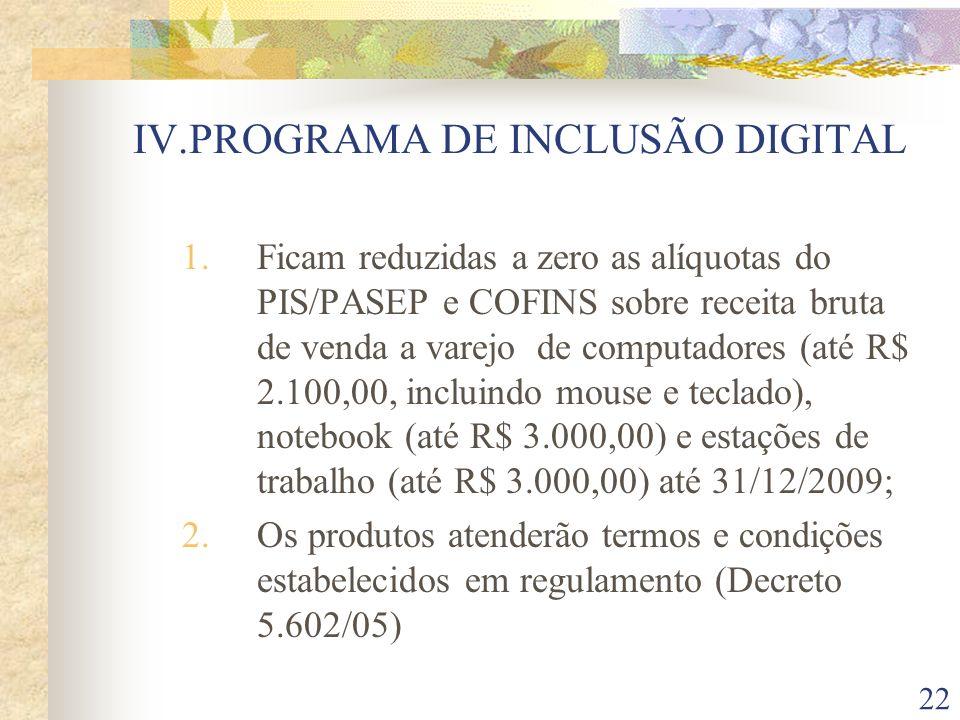 IV.PROGRAMA DE INCLUSÃO DIGITAL
