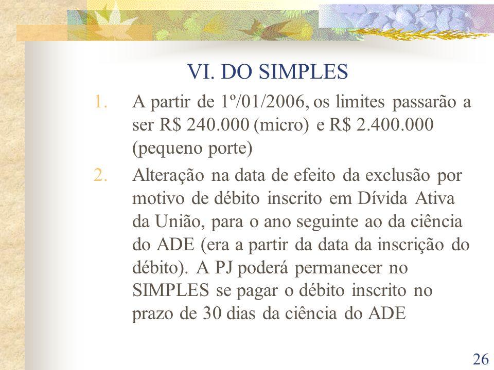 VI. DO SIMPLES A partir de 1º/01/2006, os limites passarão a ser R$ 240.000 (micro) e R$ 2.400.000 (pequeno porte)