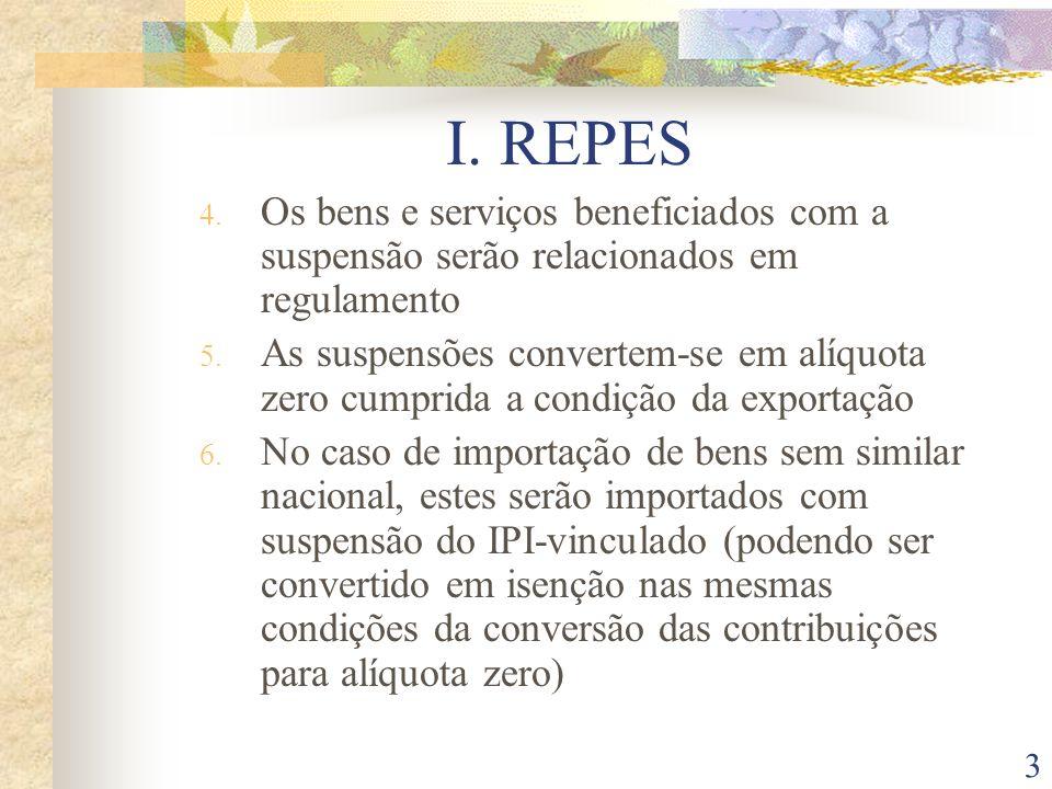 I. REPES Os bens e serviços beneficiados com a suspensão serão relacionados em regulamento.
