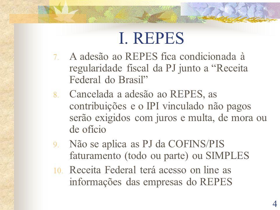 I. REPES A adesão ao REPES fica condicionada à regularidade fiscal da PJ junto a Receita Federal do Brasil