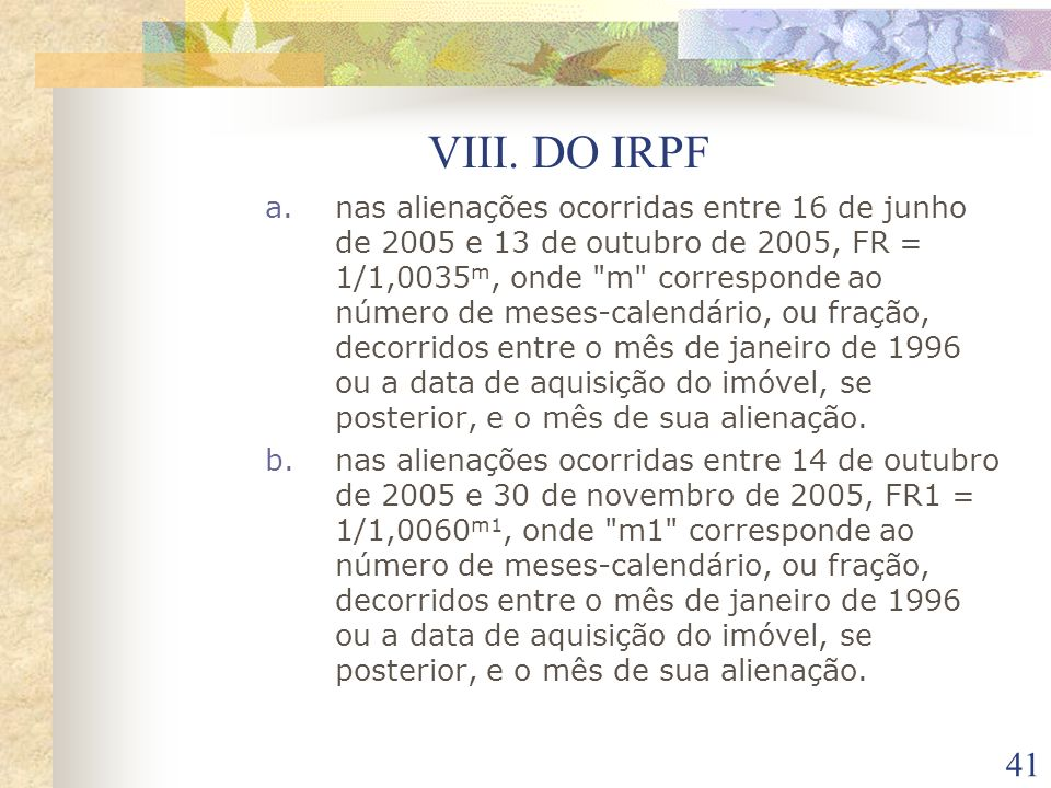 VIII. DO IRPF