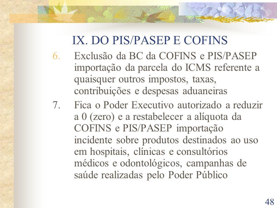 IX. DO PIS/PASEP E COFINS