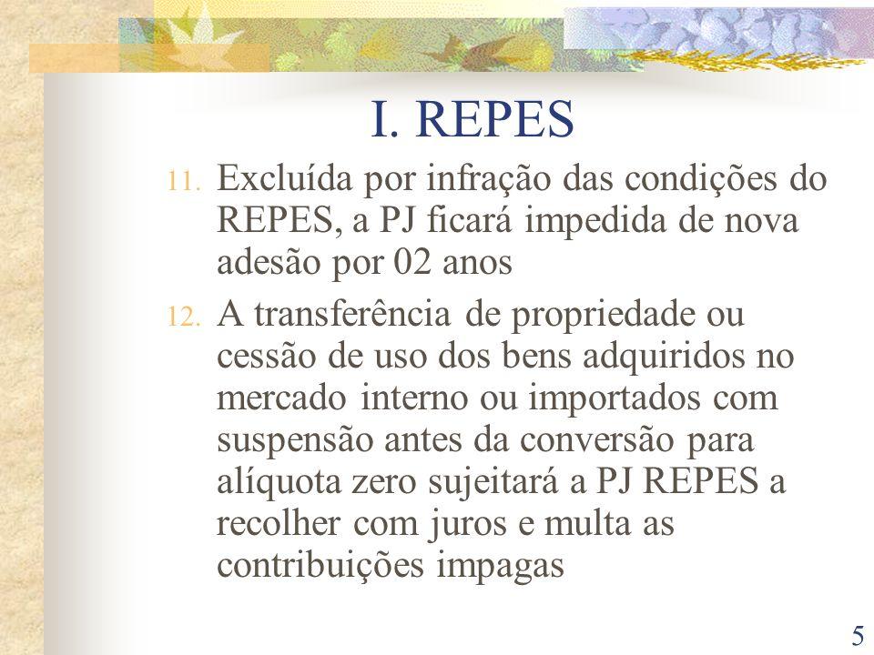 I. REPESExcluída por infração das condições do REPES, a PJ ficará impedida de nova adesão por 02 anos.