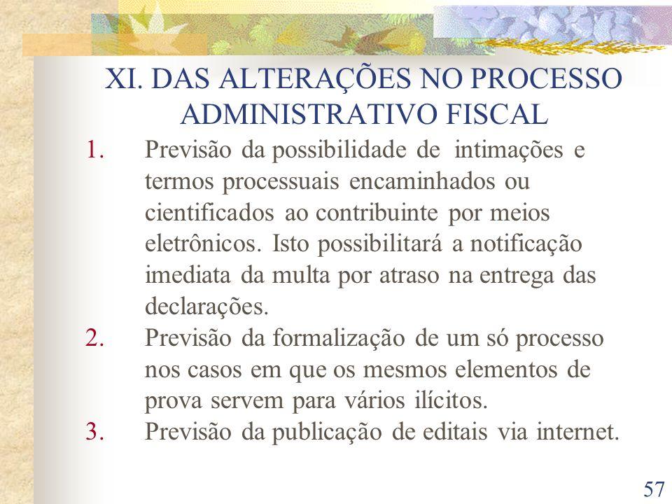 XI. DAS ALTERAÇÕES NO PROCESSO ADMINISTRATIVO FISCAL