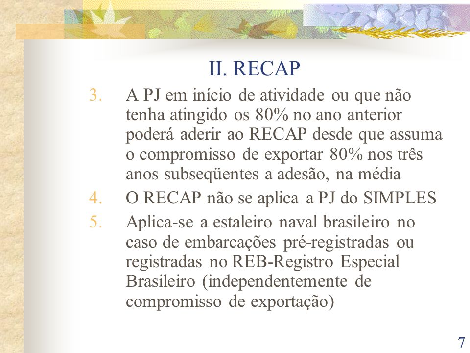 II. RECAP
