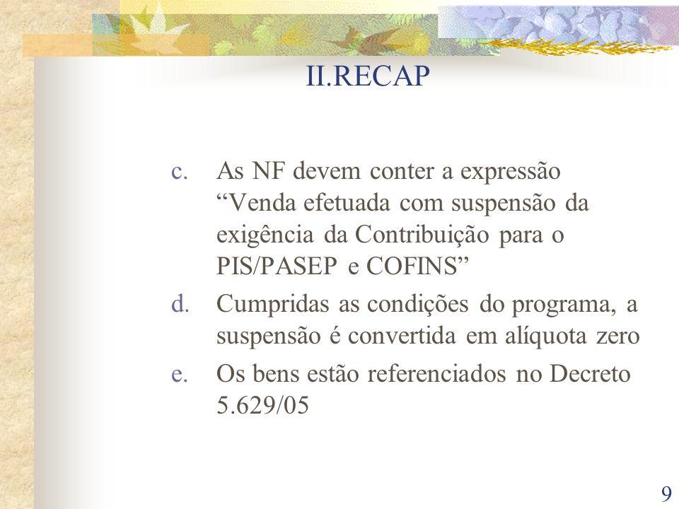 II.RECAP As NF devem conter a expressão Venda efetuada com suspensão da exigência da Contribuição para o PIS/PASEP e COFINS