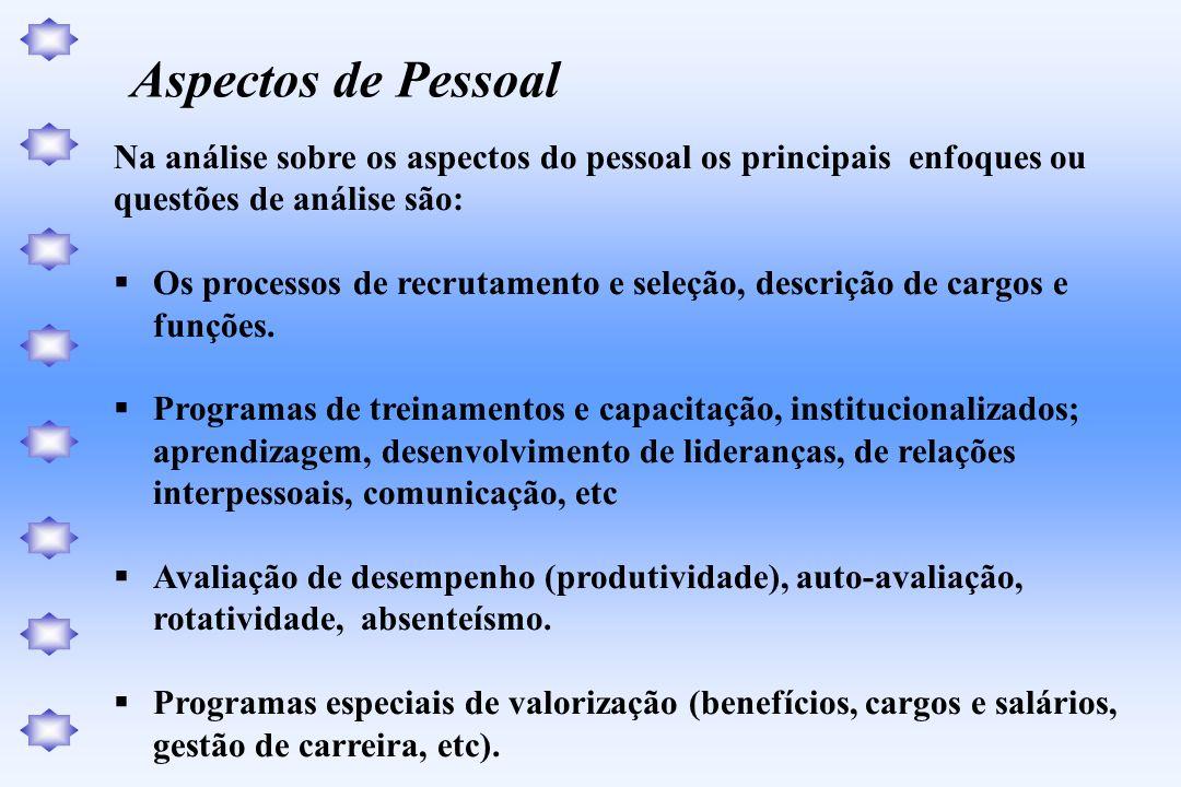 Aspectos de Pessoal Na análise sobre os aspectos do pessoal os principais enfoques ou. questões de análise são: