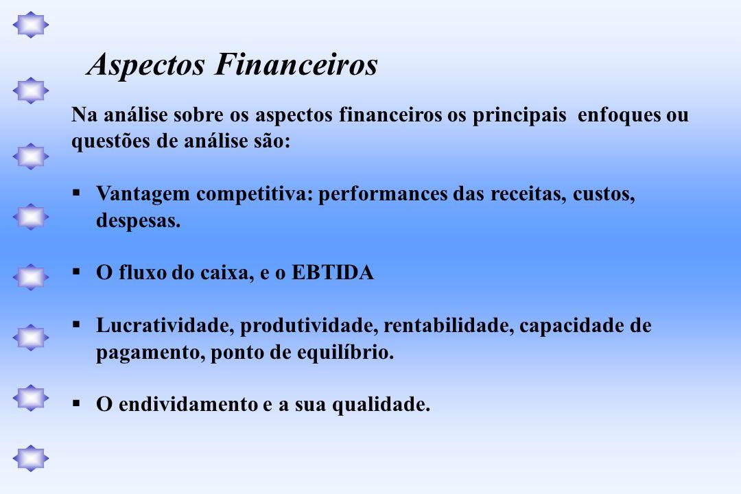 Aspectos FinanceirosNa análise sobre os aspectos financeiros os principais enfoques ou. questões de análise são: