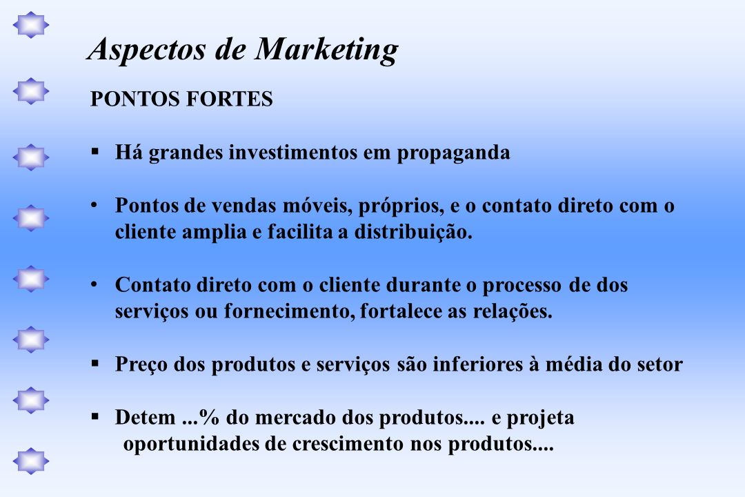 Aspectos de Marketing PONTOS FORTES