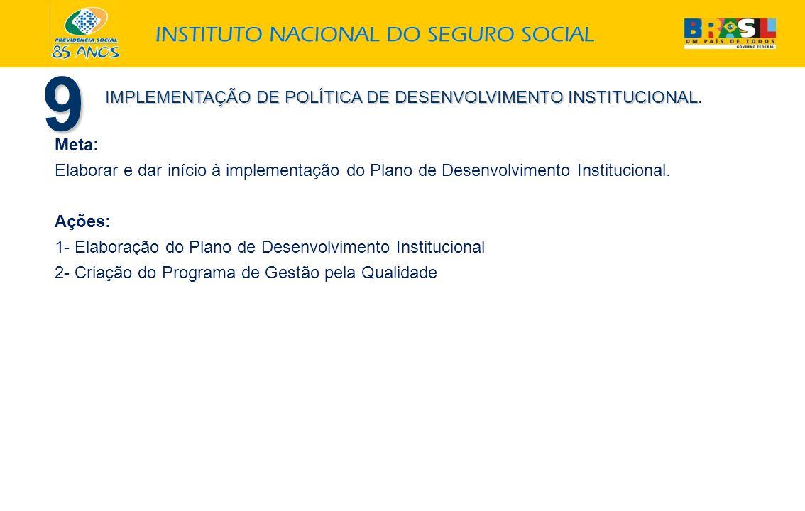 9 IMPLEMENTAÇÃO DE POLÍTICA DE DESENVOLVIMENTO INSTITUCIONAL. Meta: