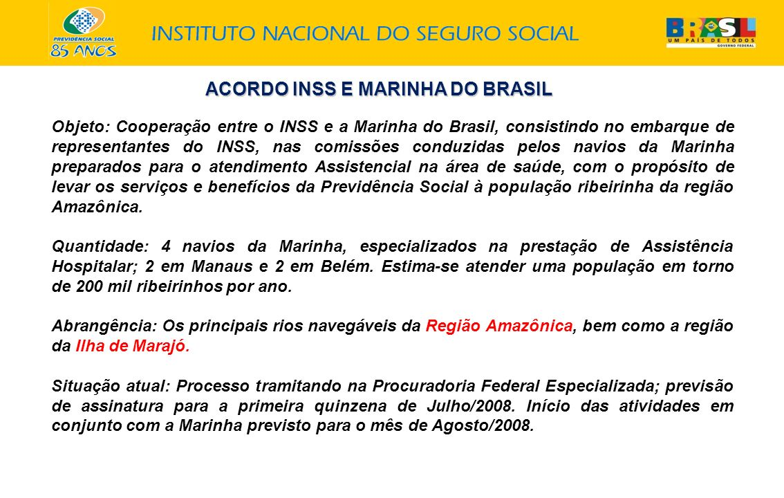 ACORDO INSS E MARINHA DO BRASIL