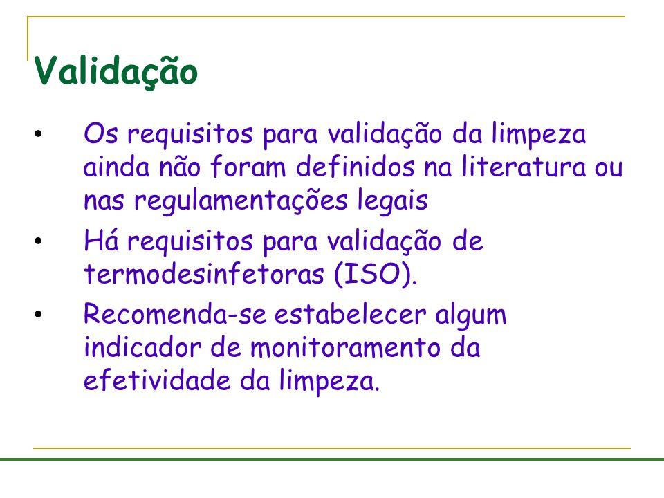 Validação Os requisitos para validação da limpeza ainda não foram definidos na literatura ou nas regulamentações legais.