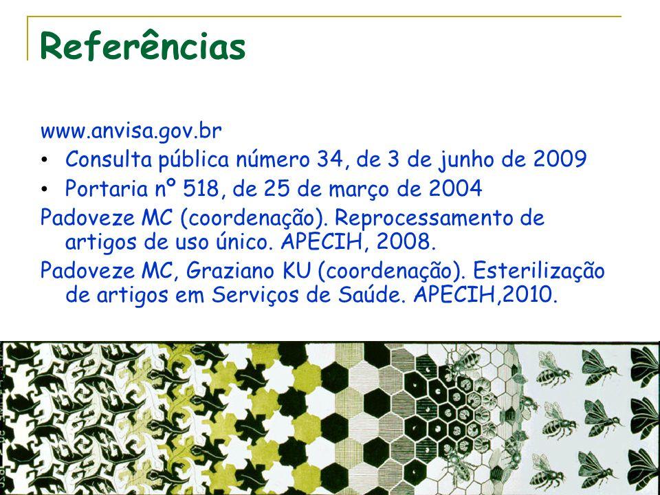 Referências www.anvisa.gov.br