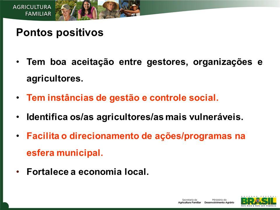 Pontos positivos Tem boa aceitação entre gestores, organizações e agricultores. Tem instâncias de gestão e controle social.