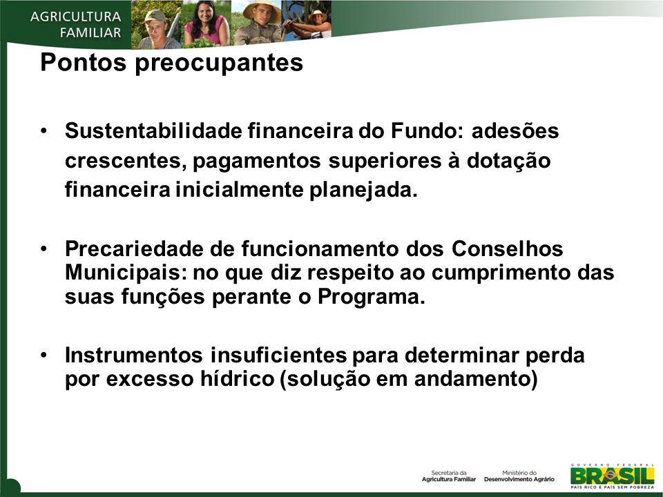 Pontos preocupantes Sustentabilidade financeira do Fundo: adesões