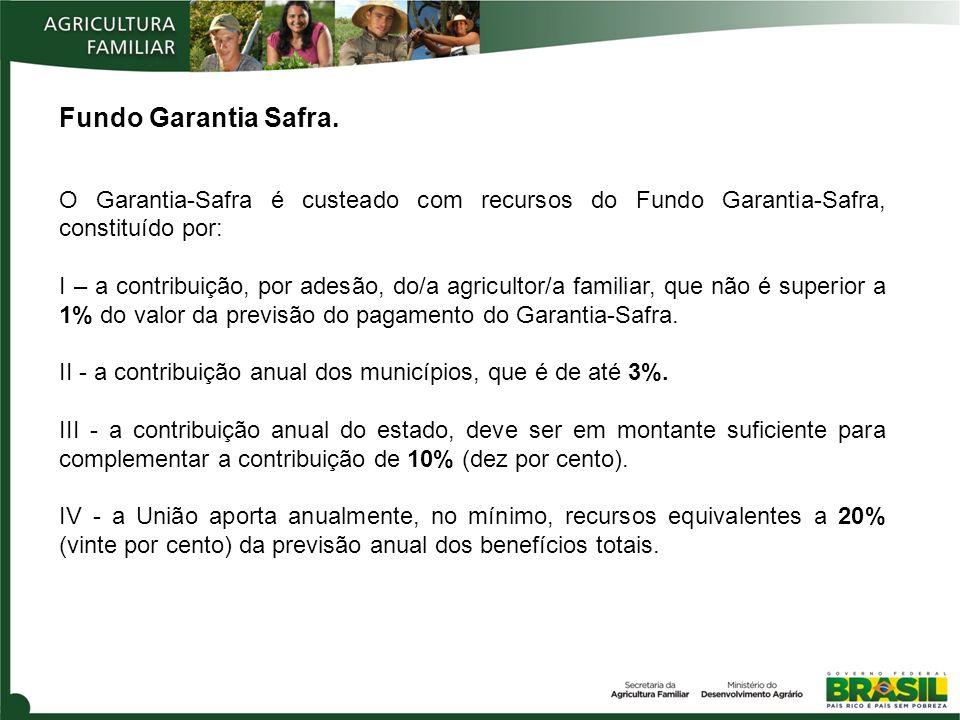 Fundo Garantia Safra. O Garantia-Safra é custeado com recursos do Fundo Garantia-Safra, constituído por: