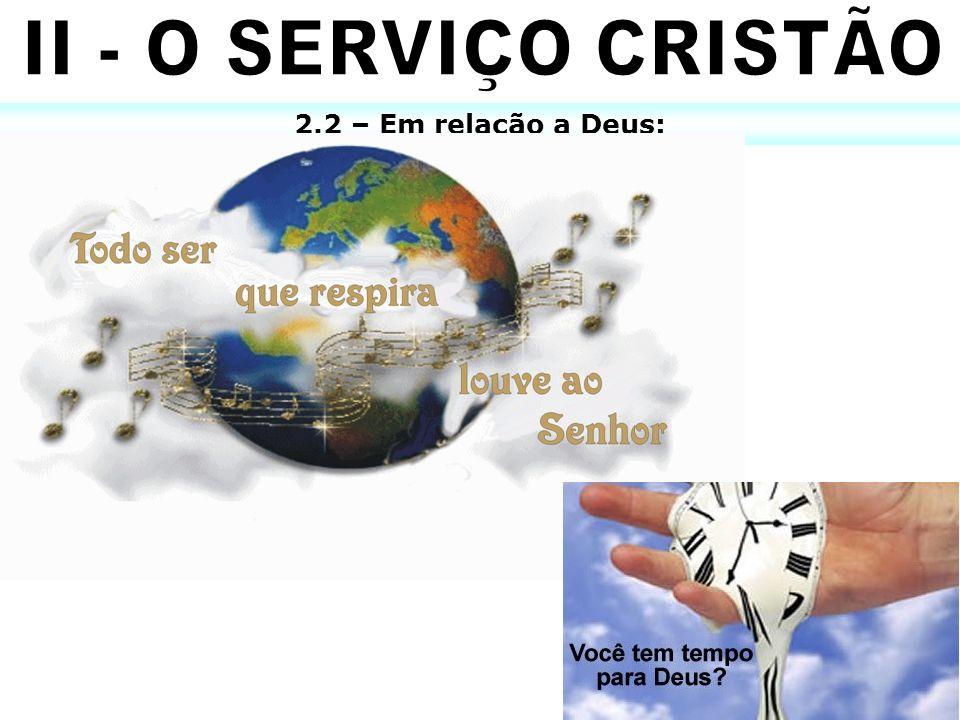 II - O SERVIÇO CRISTÃO 2.2 – Em relação a Deus: X 10