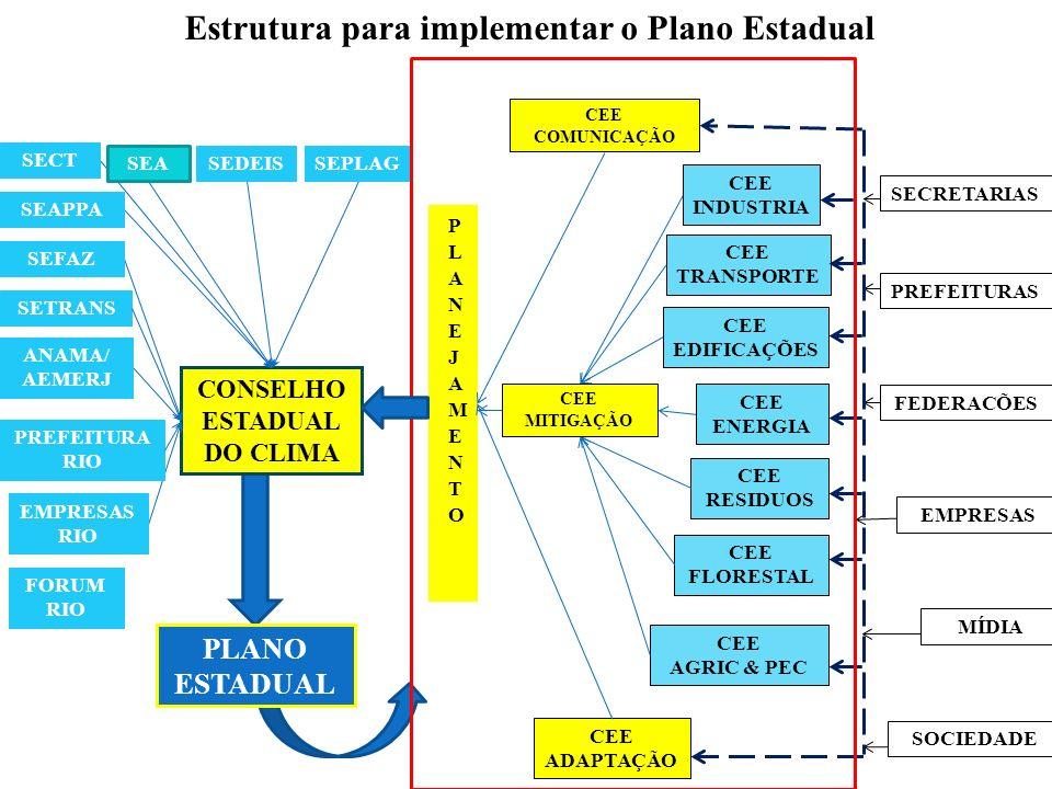 Estrutura para implementar o Plano Estadual