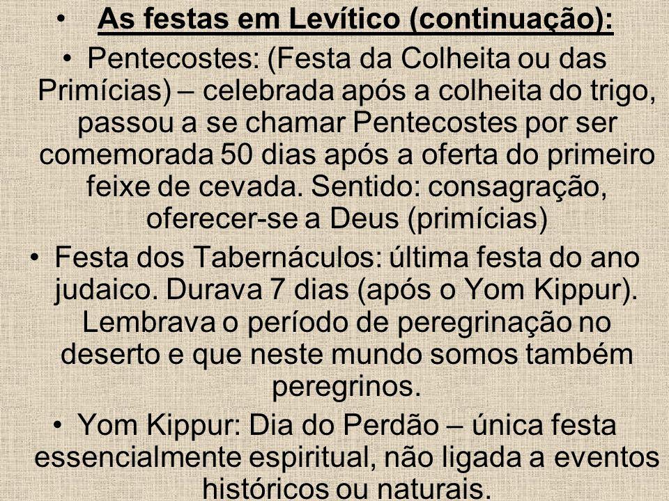As festas em Levítico (continuação):