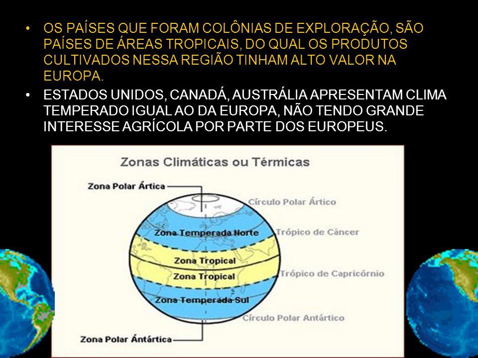 OS PAÍSES QUE FORAM COLÔNIAS DE EXPLORAÇÃO, SÃO PAÍSES DE ÁREAS TROPICAIS, DO QUAL OS PRODUTOS CULTIVADOS NESSA REGIÃO TINHAM ALTO VALOR NA EUROPA.