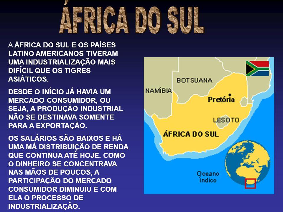 ÁFRICA DO SUL A ÁFRICA DO SUL E OS PAÍSES LATINO AMERICANOS TIVERAM UMA INDUSTRIALIZAÇÃO MAIS DIFÍCIL QUE OS TIGRES ASIÁTICOS.