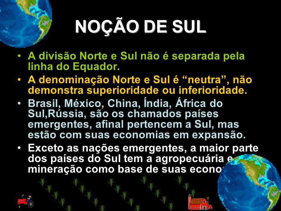 NOÇÃO DE SUL A divisão Norte e Sul não é separada pela linha do Equador.