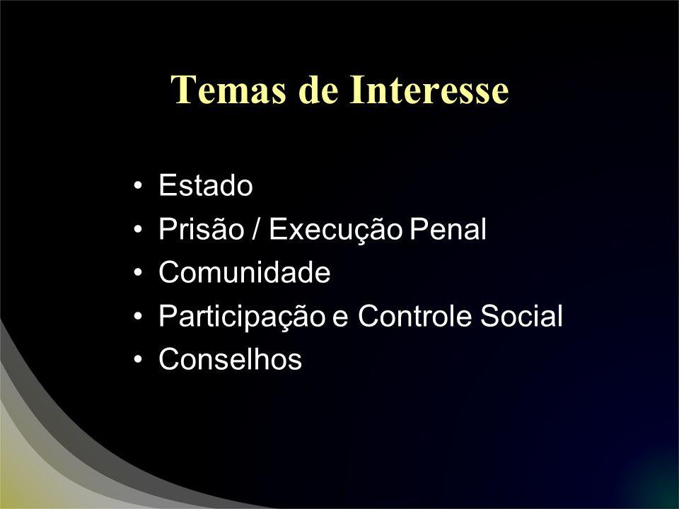 Temas de Interesse Estado Prisão / Execução Penal Comunidade
