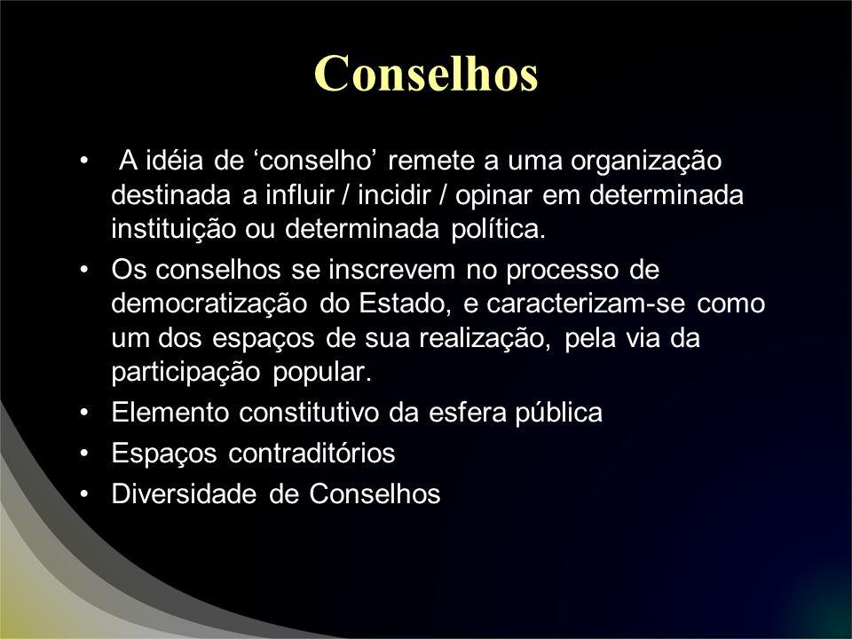 Conselhos A idéia de 'conselho' remete a uma organização destinada a influir / incidir / opinar em determinada instituição ou determinada política.