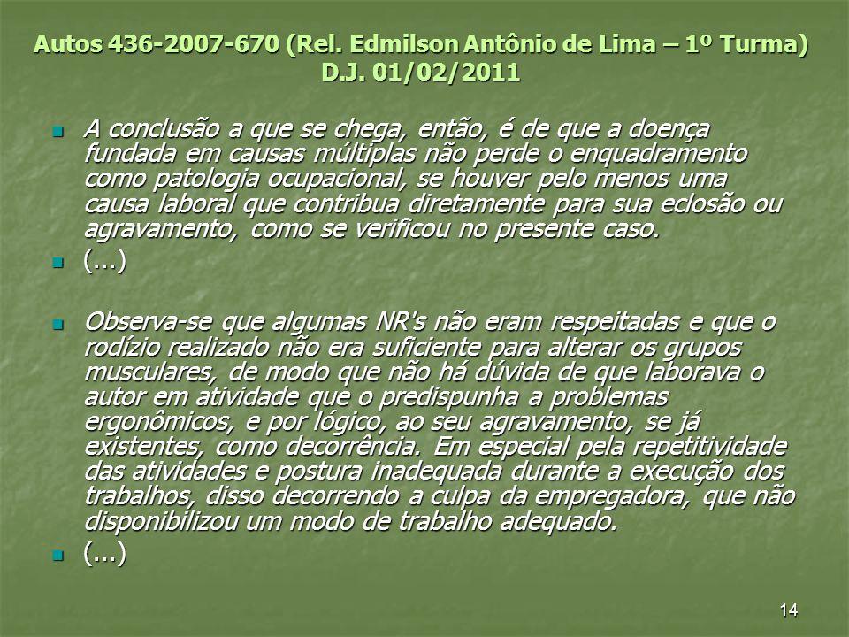 Autos 436-2007-670 (Rel. Edmilson Antônio de Lima – 1º Turma) D. J